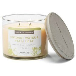Candle-lite Essential Elements 3-Wick Glass Natural Scented Candle Jar 14.75 oz 418 g - Coconut Water & Palm Leaf