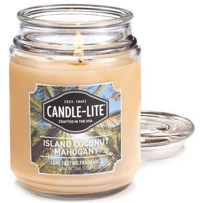 Candle-lite Everyday Collection Large Scented Jar Glass Candle 18 oz 145/100 mm 510 g ~ 110 h – Island Coconut Mahogany