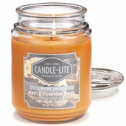Candle-lite Everyday Collection Large Scented Jar Glass Candle 18 oz 145/100 mm 510 g ~ 110 h - Maple Pumpkin Swirl