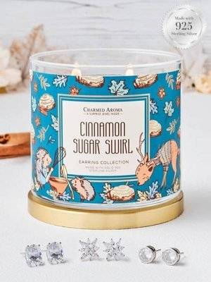 Charmed Aroma jewel soy scented candle with Silver Earrings 12 oz 340 g - Cinnamon Sugar Swirl