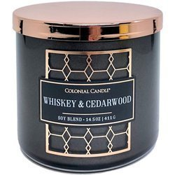 Colonial Candle Luxe large soy scented candle 3 wicks 14.5 oz 411 g - Whiskey & Cedarwood