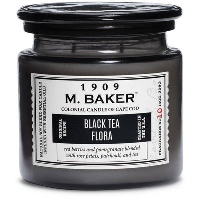Colonial Candle M. Baker large soy scented candle apothecary jar 14 oz 396 g - Black Tea Flora