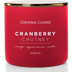 Colonial Candle Pop of Color large soy scented candle 3 wicks 14.5 oz 411 g - Cranberry Chutney