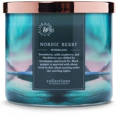 Colonial Candle Travel large soy scented candle 3 wicks 14.5 oz 411 g - Nordic Berry