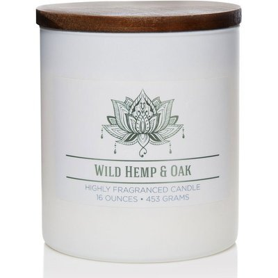 Colonial Candle Wellness large scented jar candle soy blend 16 oz 453 g - Wild Hemp & Oak