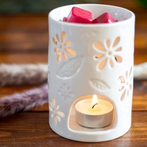 Nyl Ceramic Wax Burner with openwork - White
