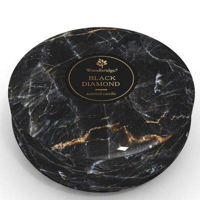 Woodbridge marble scented tin candle 3 wicks 470 g - Black Diamond