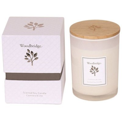 Woodbridge medium scented soy candle 270 g in a box - Cashmere & Lilac