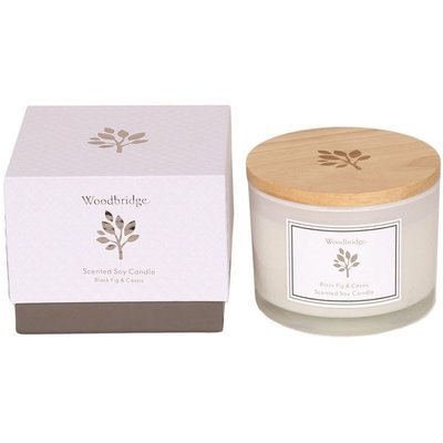 Woodbridge medium scented soy candle 3 wicks 370 g in a box - Black Fig & Cassis