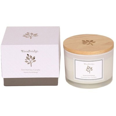 Woodbridge medium scented soy candle 3 wicks 370 g in a box - Passion Fruit & Mango