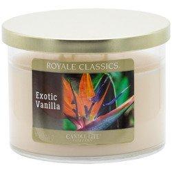 Candle-lite Royale Classics 11.5 oz luksusowa świeca zapachowa w szkle z trzema knotami 326 g - Exotic Vanilla