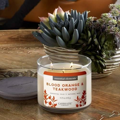 Candle-lite świeca zapachowa sojowa w szkle z olejkami eterycznymi 418 g Essential Elements - Blood Orange & Teakwood