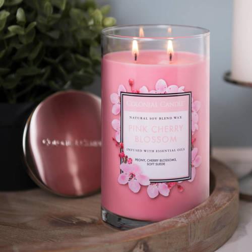 Colonial Candle duża świeca zapachowa sojowa w szkle tumbler 18 oz 510 g - Pink Cherry Blossom