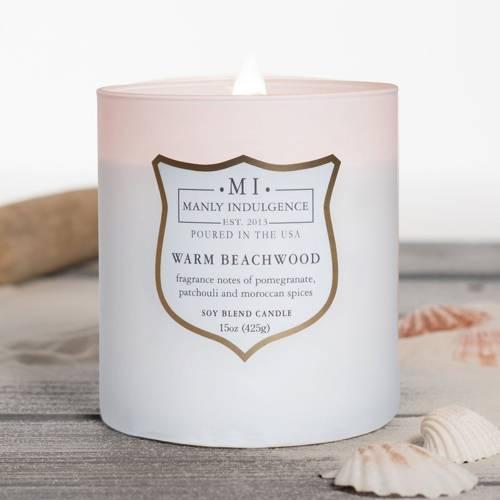 Colonial Candle sojowa świeca zapachowa w szkle drewniany knot 15 oz 425 g - Warm Beachwood