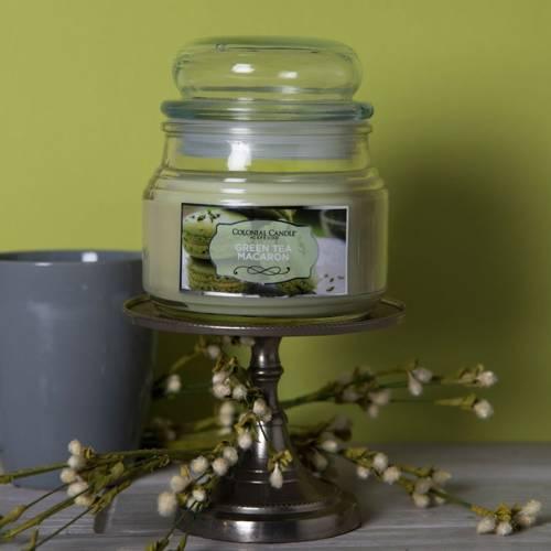 Colonial Candle zielona świeca zapachowa w szklanym słoju 9 oz 255 g - Green Tea Macaron
