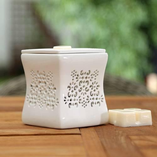 Kominek do wosków zapachowych elektryczny ze zdejmowaną misą Nata - Biały
