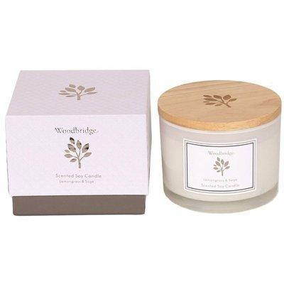 Woodbridge świeca zapachowa sojowa w szkle 3 knoty 370 g pudełko - Lemongrass & Sage