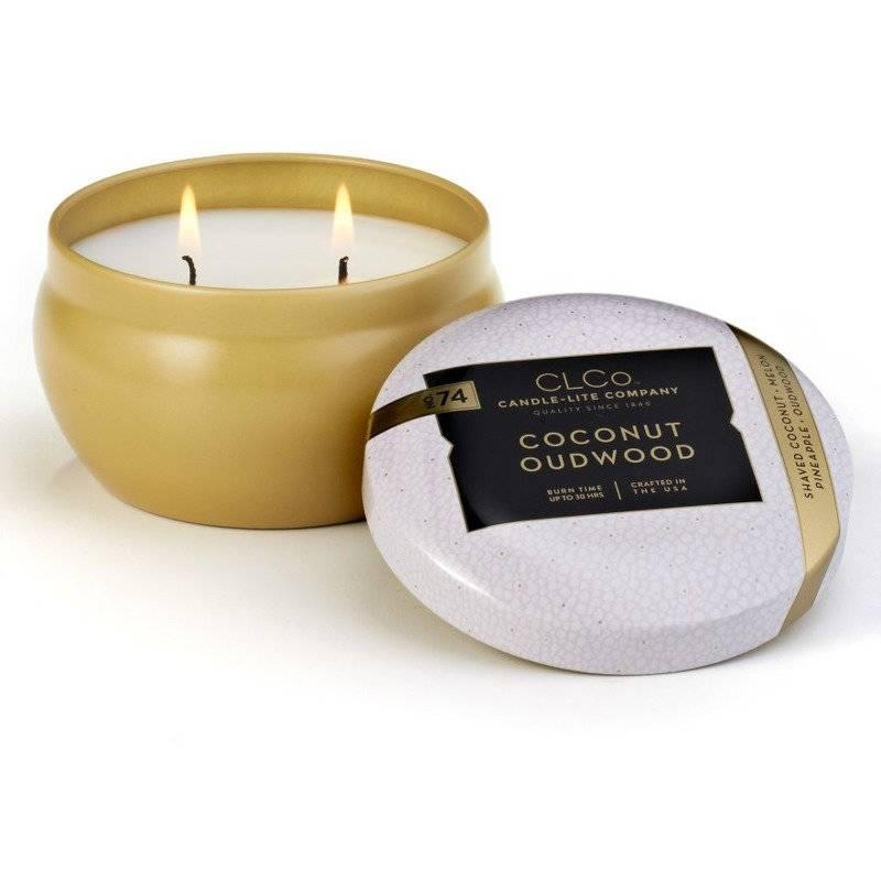 Candle-lite CLCo Candle Jar 6.25 oz luksusowa świeca zapachowa w ozdobnej puszce ~ 30 h - No. 74 Coconut Oudwood