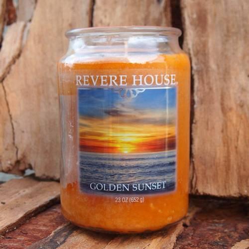 Candle-lite Revere House Jar Glass Candle With Lid 23 oz duża świeca zapachowa w szklanym słoju 185/100 mm 652 g ~ 120 h - Golden Sunset